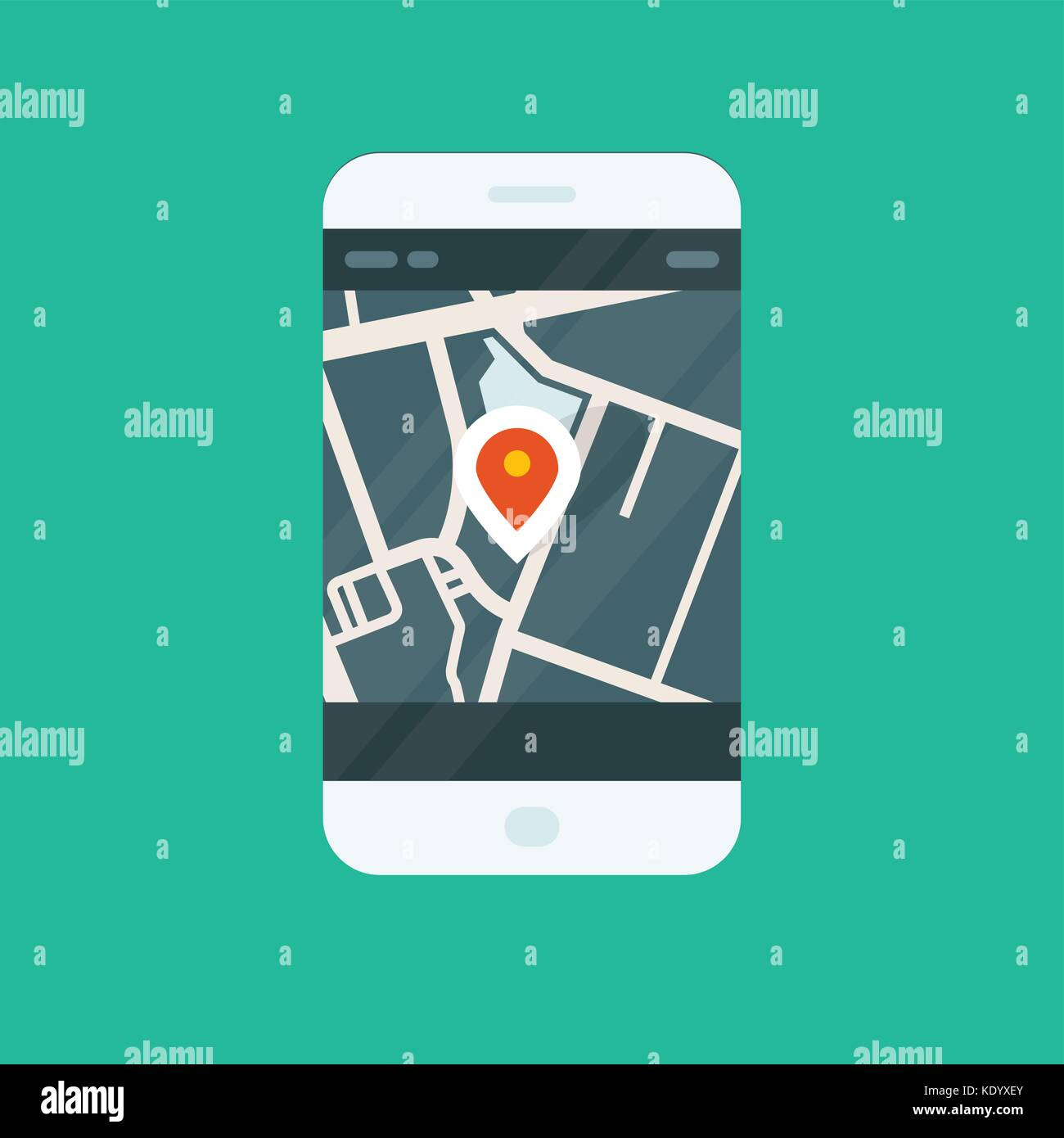 City navigation smartphone app - location on map - Stock Vector