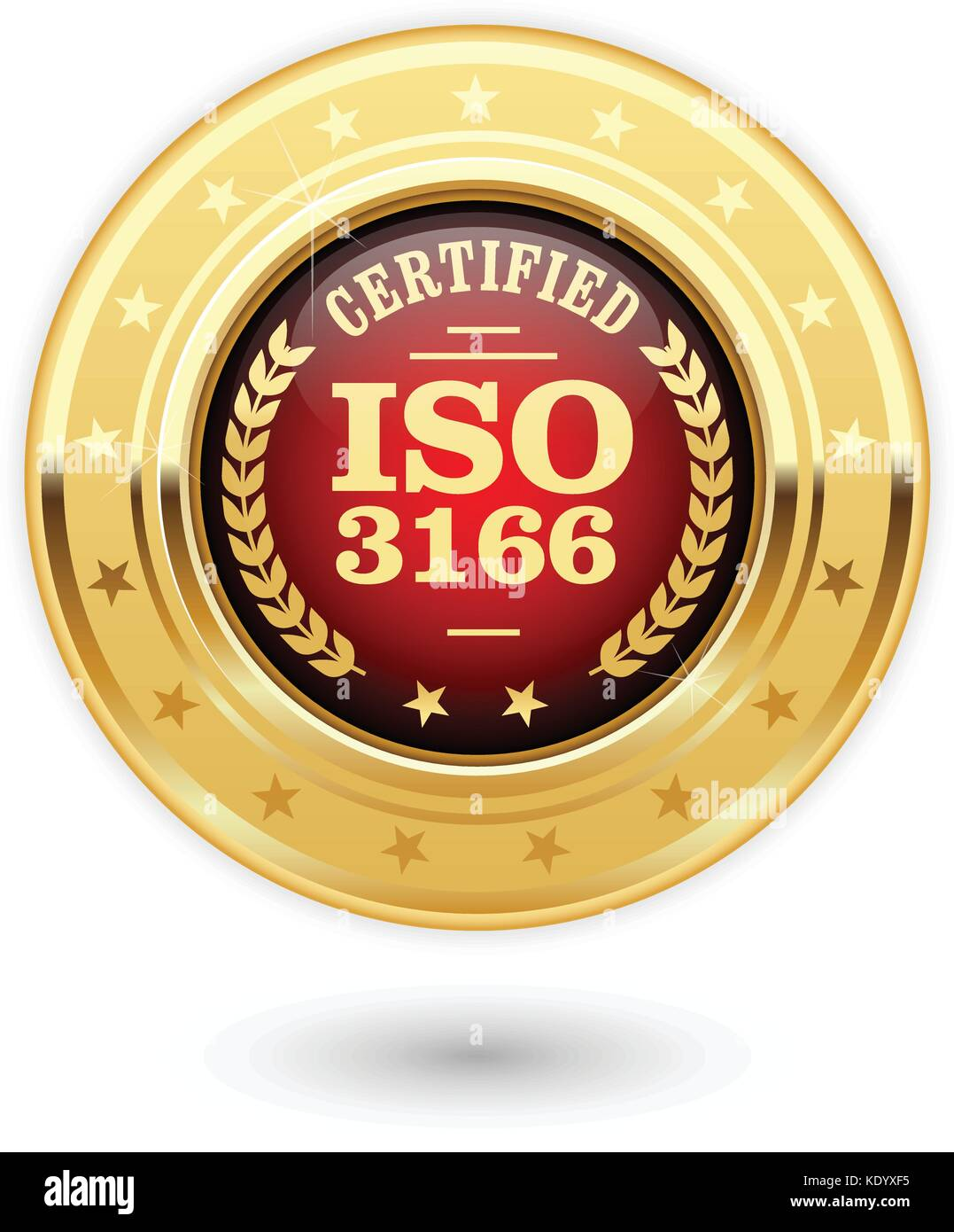 ISO 3166 certified medal - country codes Stock Vector Art