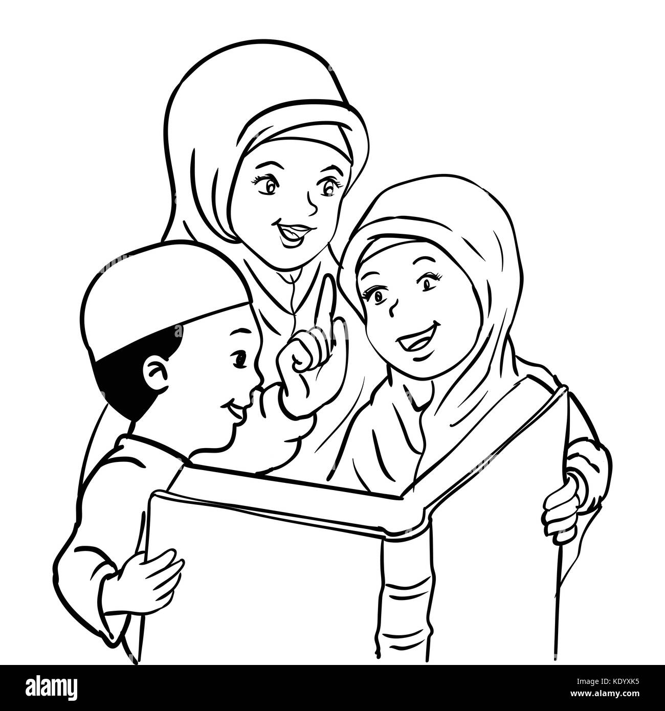 Cartoon Muslim Mother With Son And Daughter Read Book Kids