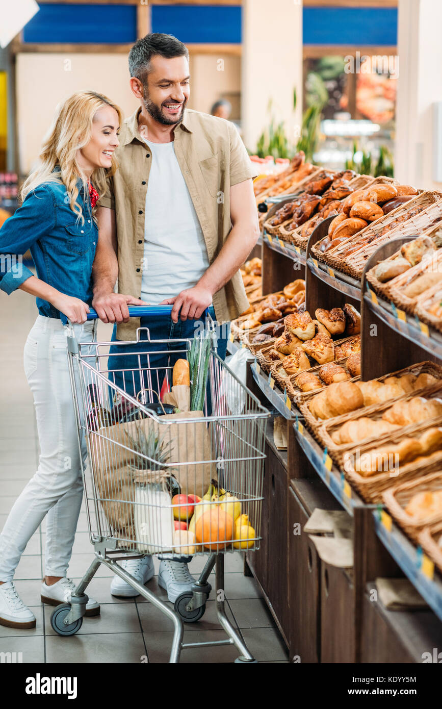 couple in grocery shop Stock Photo