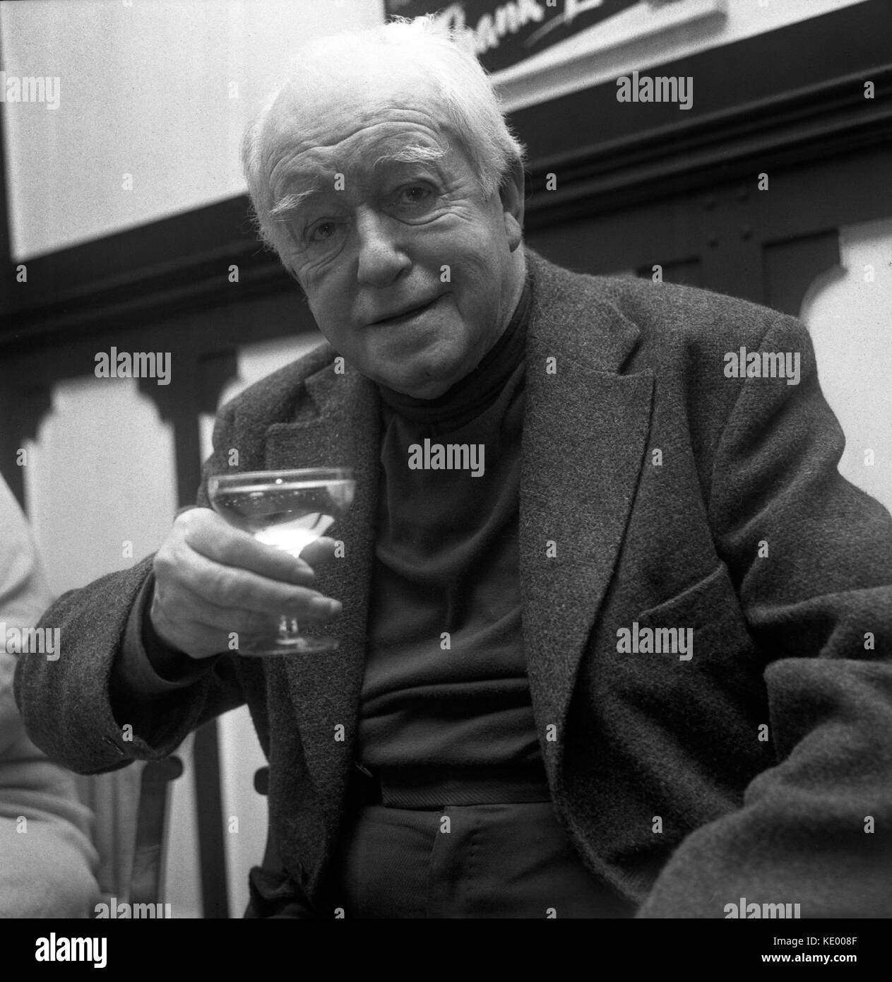 Actor Arnold Ridley - Private Godfrey of Dad's Army fame - toasts his 80th birthday (which is tomorrow) with - Stock Image