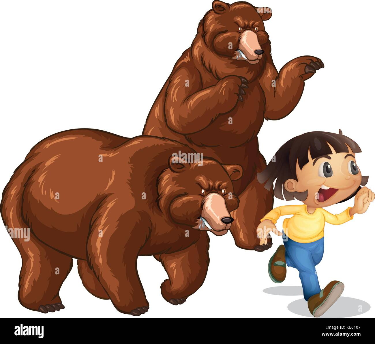 Girl running away from grizzly bears illustration Stock Vector