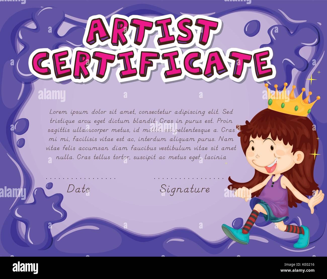 Certificate Template For Artist Illustration Stock Vector Art