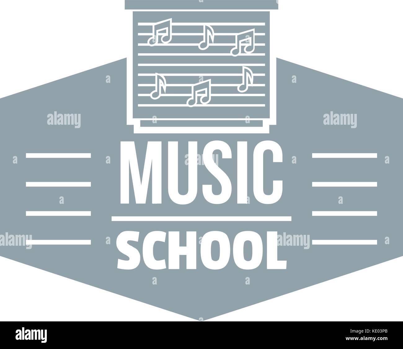 Music school logo, simple gray style - Stock Image