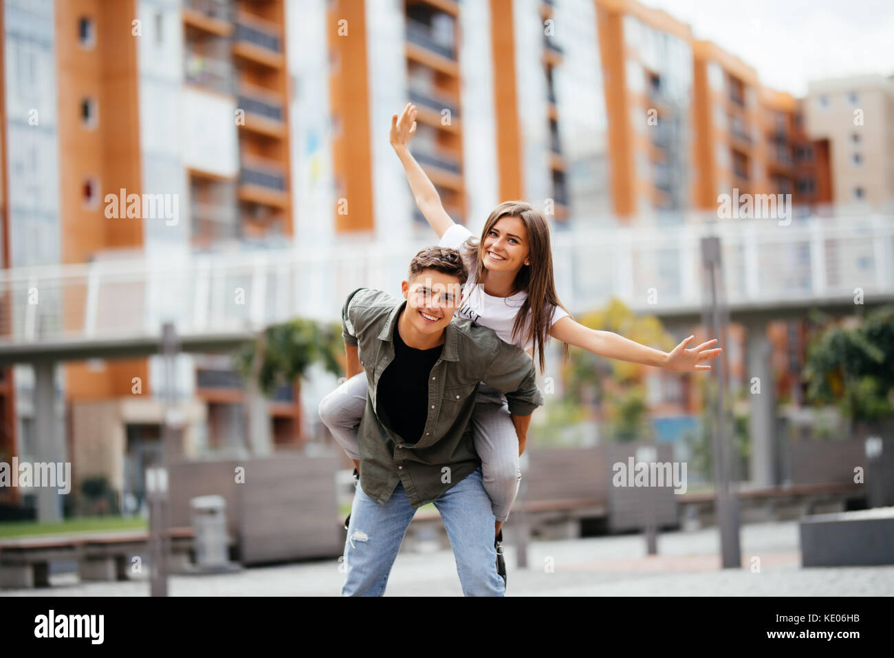 Very happy couple having a good time. Couple having fun. Smiling couple. - Stock Image