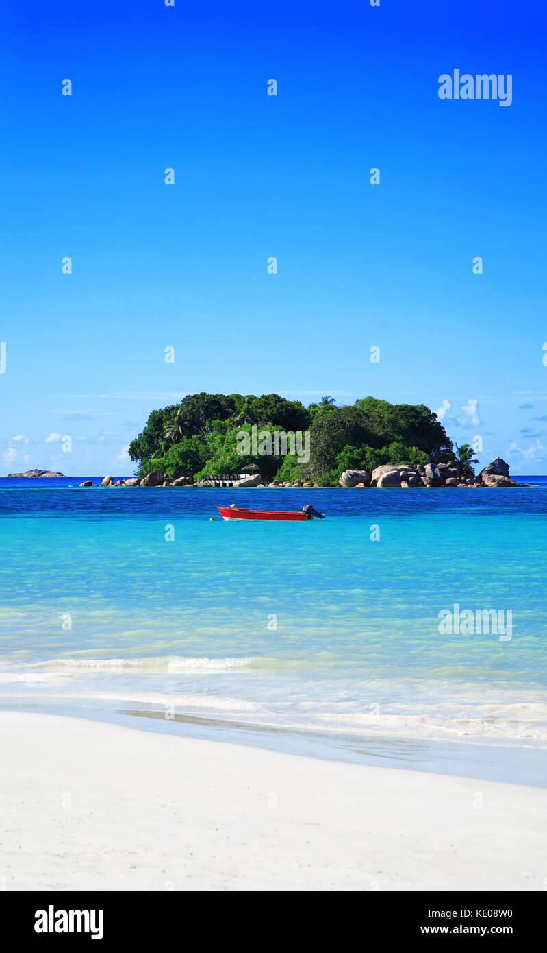 Island Chauve Souris, Anse Volbert Beach, Island Praslin. Republic of Seychelles. Stock Photo