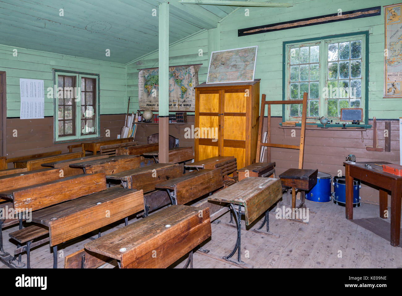 Inside old classroom from the outback, Old Tailem Bend Pioneer Village, South Australia, Australia - Stock Image