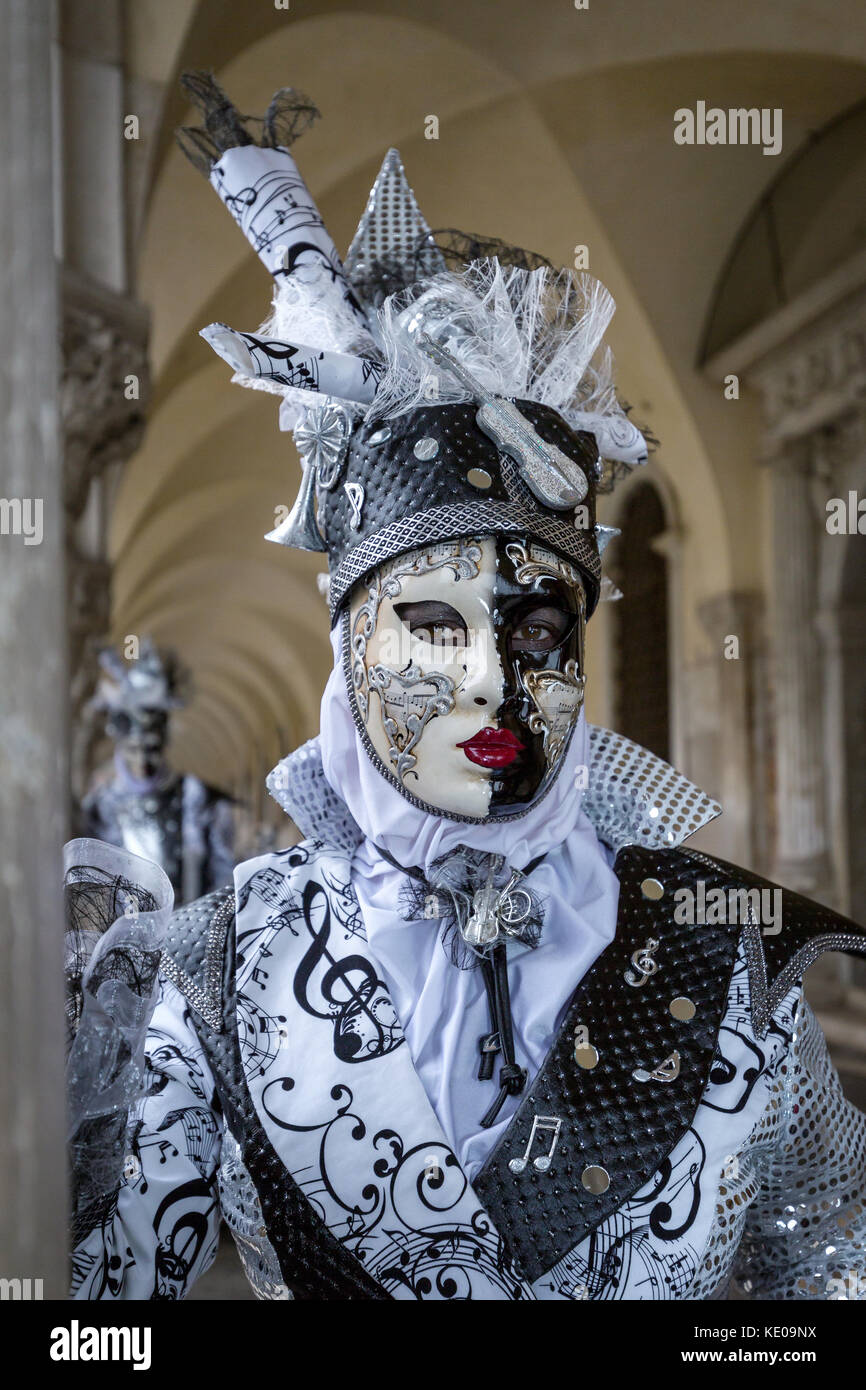 A woman dressed up for the Carnival in Venice, Italy Stock Photo