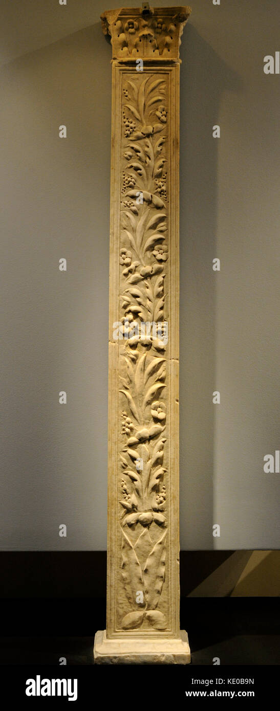 Roman Pillar Of Rectangular Base With Capital With Leaves Of Acanthus And  Flowers. Side A