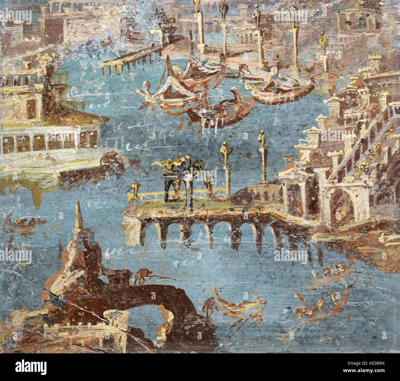 Roman fresco depicting a panorama of a port, usually ...