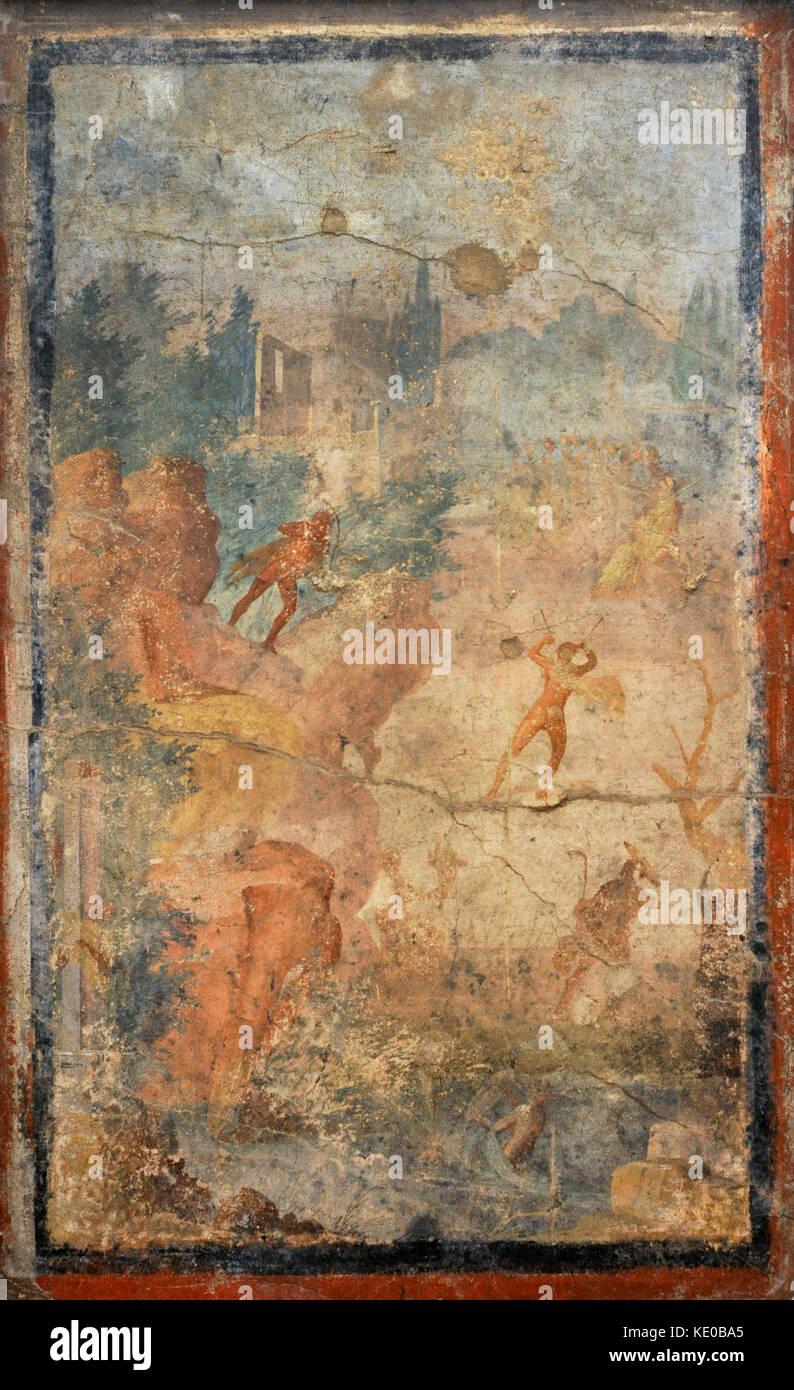 Roman fresco, unique replica of the myth of Marsias, represented in continuous narrative. Athena, seated, plays - Stock Image