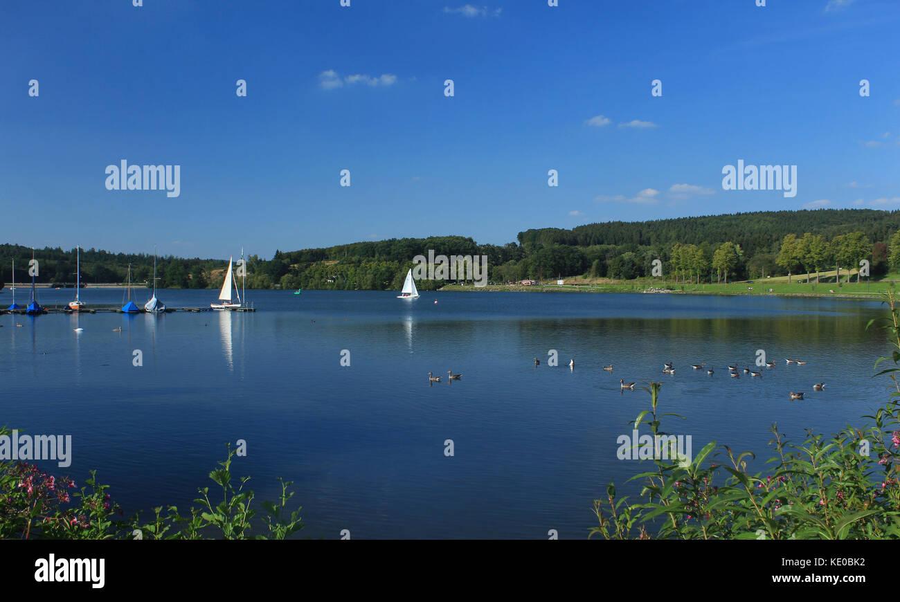 sorpe dam near sundern-amecke, hochsauerlandkreis, nrw, germany / sorpesee bei sundern-amecke, hochsauerlandkreis, Stock Photo