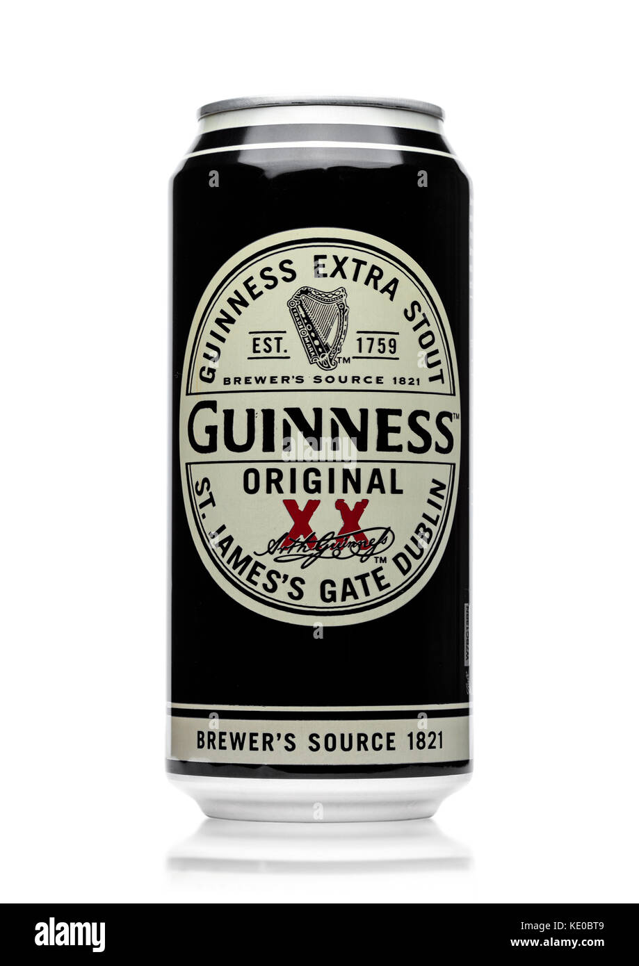 LONDON, UK - MAY 29, 2017: Alluminium can of Guinness original beer on white background. Guinness beer has been - Stock Image