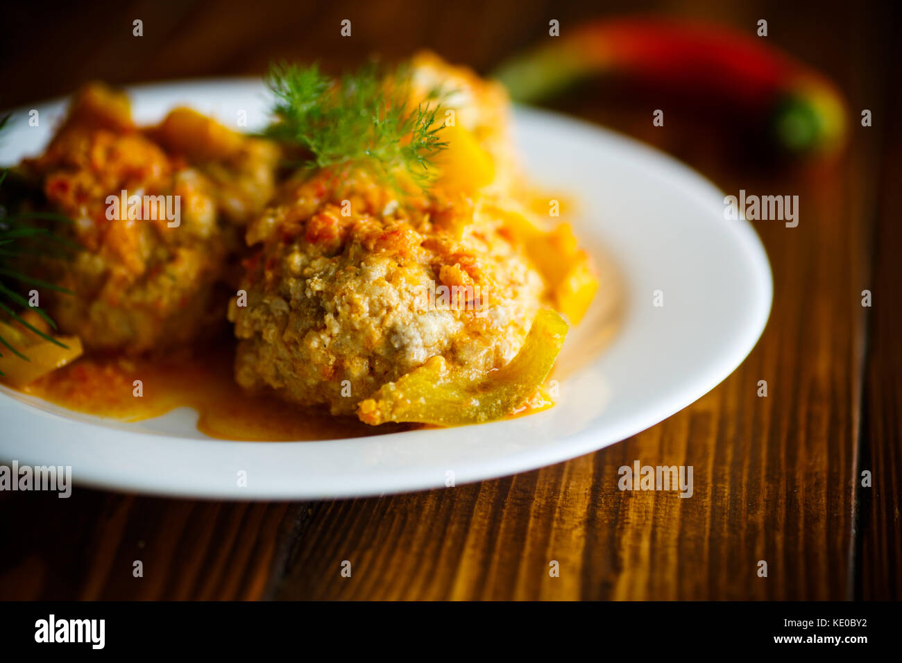 meatballs in a plate - Stock Image