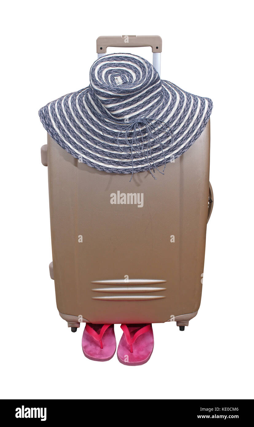 Closed suitcase ready for summer vacation with hat and flip flops isolated with clipping path included - Stock Image