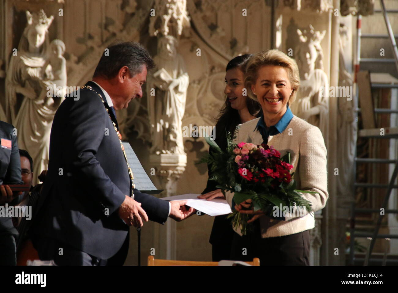 Magdeburg, Germany. 17th Oct, 2017. Federal Minister of Defense, Dr. Ursula von der Leyen, is speaking at the Magdeburg - Stock Image