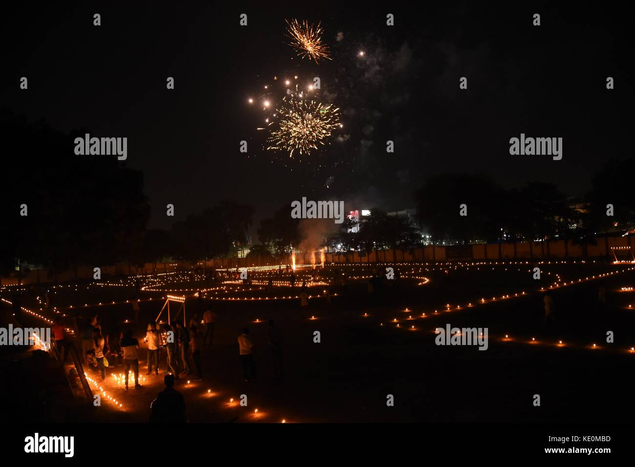 Allahabad, Uttar Pradesh, India. 17th Oct, 2017. Allahabad: A view of decorated Anglo Bangali stadium with oil lamps - Stock Image