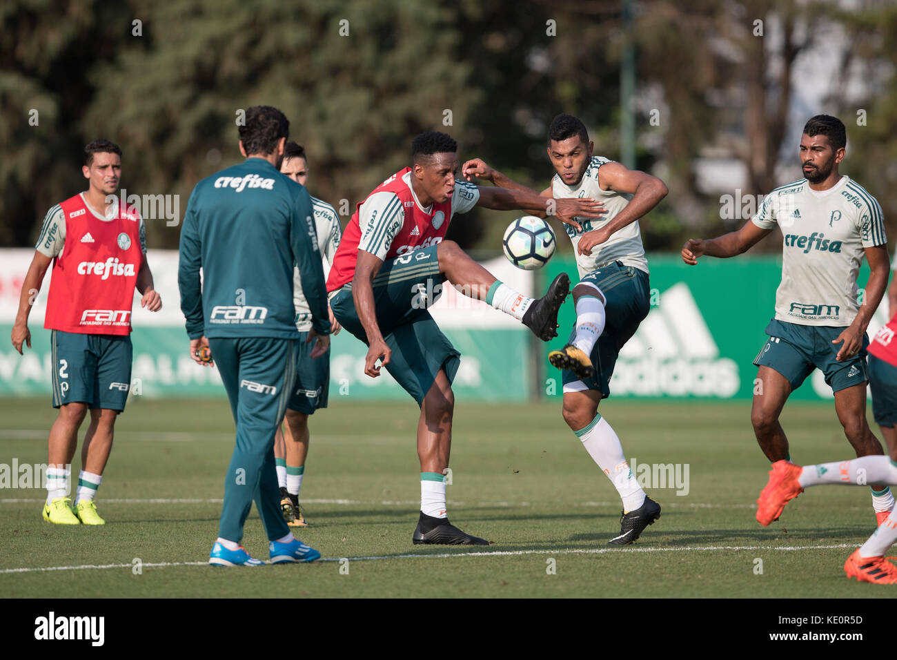 Sao Paulo, Brazil. 17th Oct, 2017. Colombian soccer player Yerry Mina (C), who has a preliminary agreement with - Stock Image