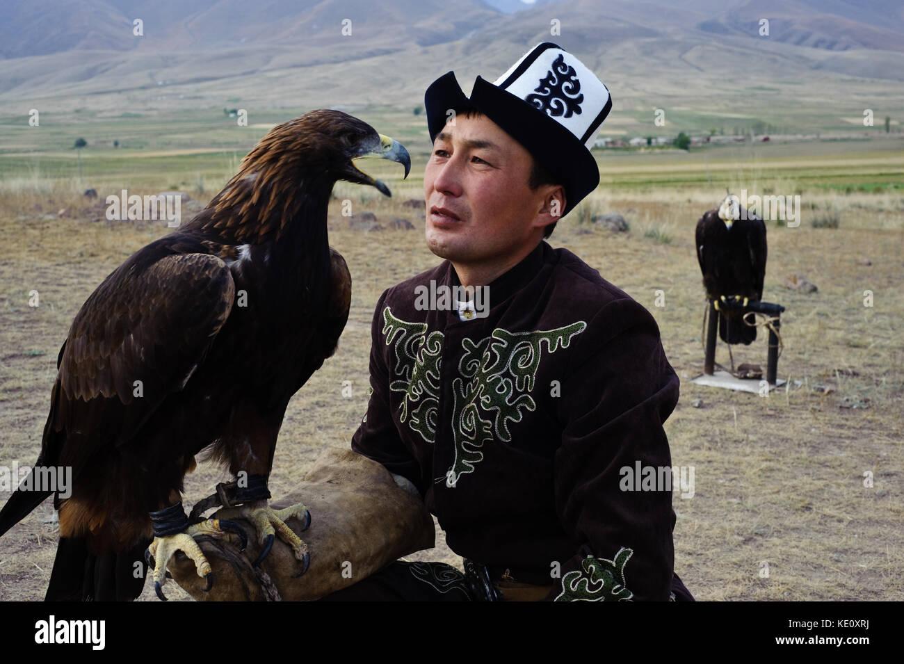 Eagle hunter ( Kyrgyzstan) Stock Photo