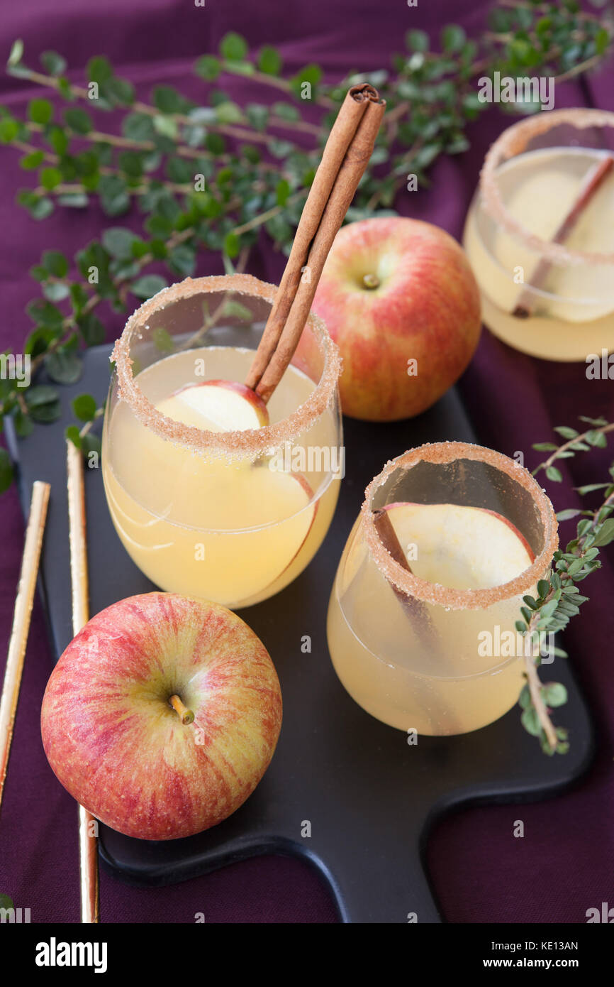 Fruity cocktail with apple and cinnamon sticks - Stock Image