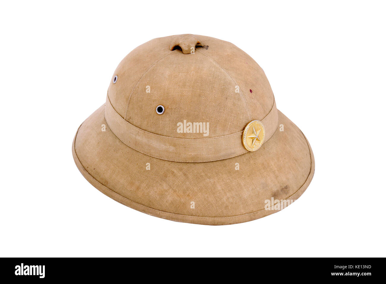 Tropical cork helmet of North Vietnam army. Period of American-Vietnam conflict. (1965-1973) - Stock Image
