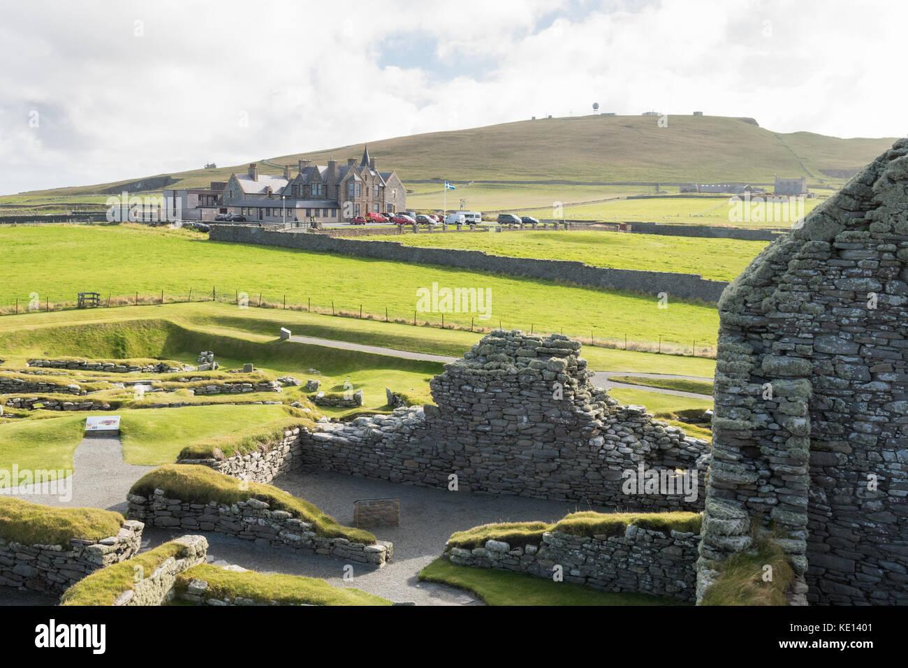 Sumburgh Hotel as seen from Jarlshof archaeological site, Sumburgh, Virkie, Shetland, Scotland, UK - Stock Image