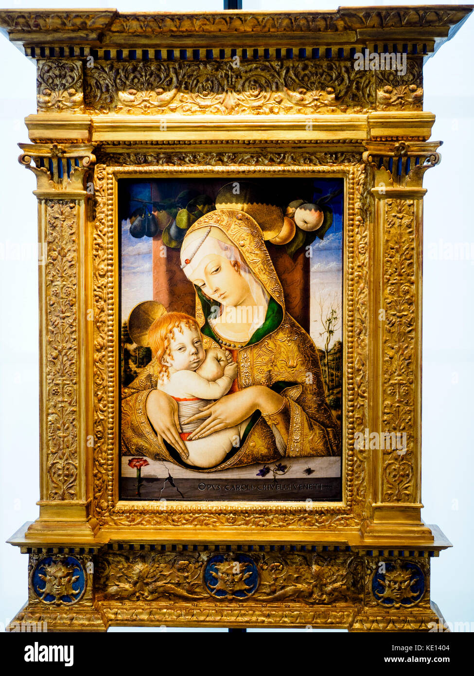The Virgin and Child wilth St. John the baptist about 1480 by Carlo Crivelli (1430/5-94/5) tempera on panel - Stock Image