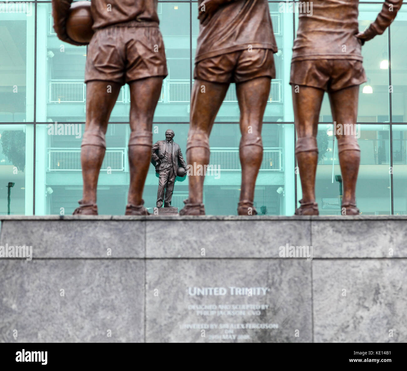 United Trinity statue outside Manchester United Football Club home ground Old Trafford, Manchester, England, United - Stock Image