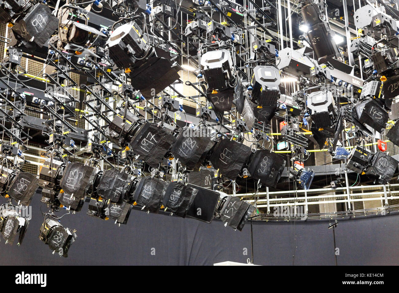 Television lights inside the BBC TV sport studios at Media City UK in Salford and Trafford, Greater Manchester, - Stock Image