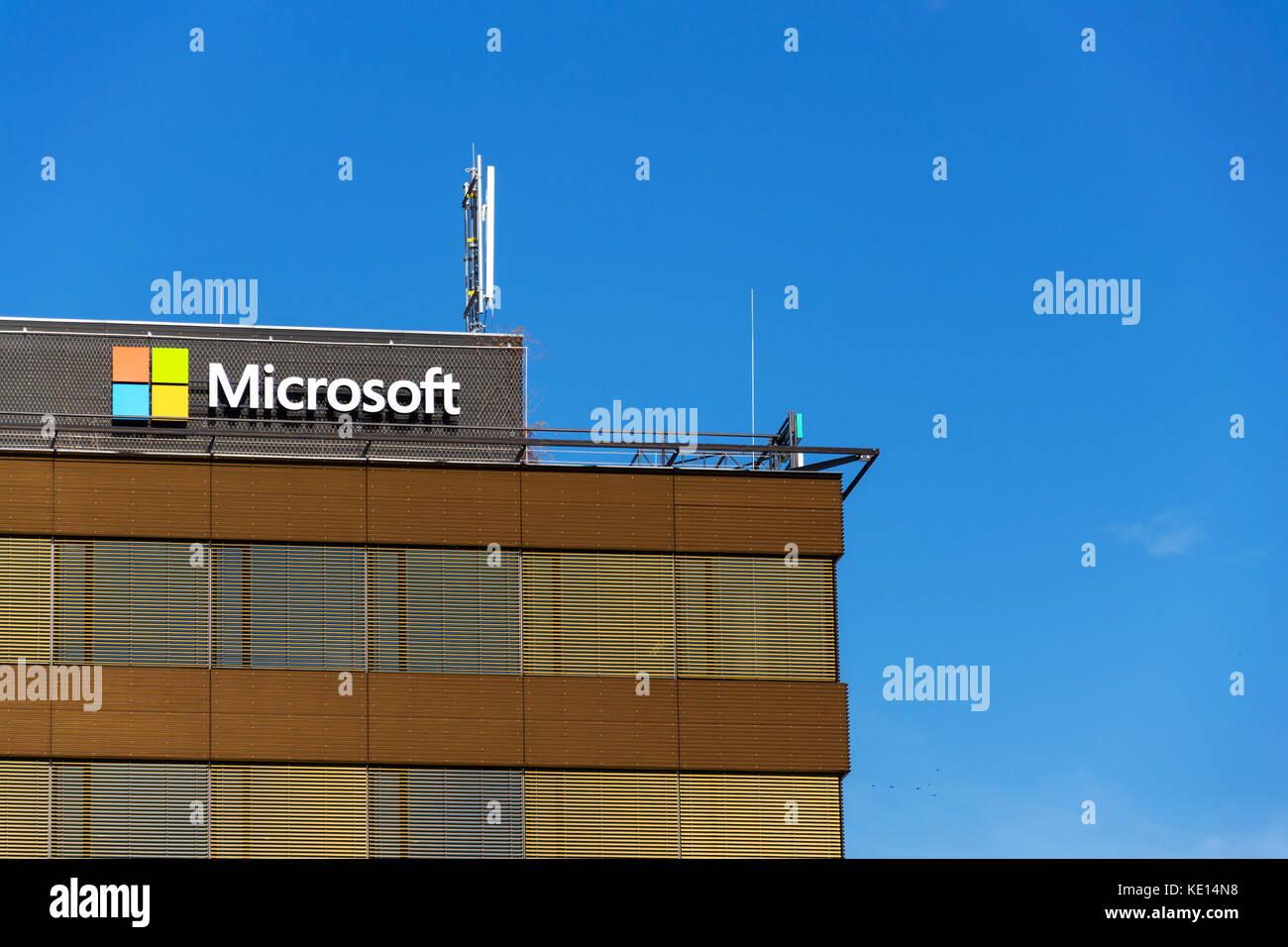 microsoft office company. PRAGUE, CZECH REPUBLIC - OCTOBER 14: Microsoft Company Logo On Headquarters Building October Office E