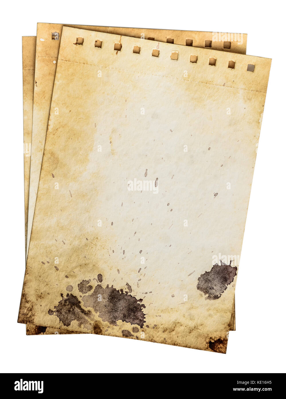 Dirty notebook pages. Old rough grunge paper template with drops and dirty crack pattern. Work path - Stock Image