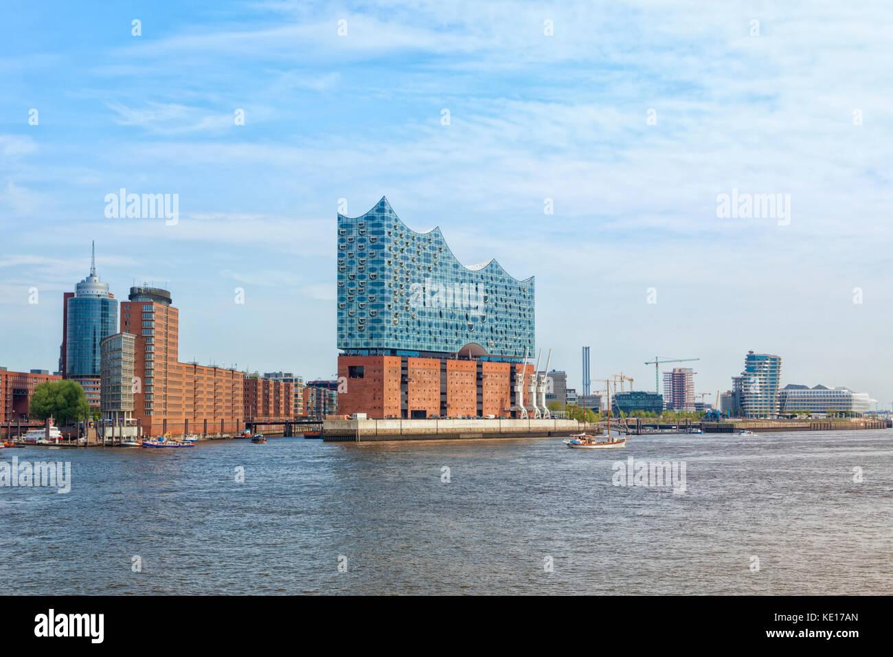 Hafen City quarter of Hamburg with the Elbe Philharmonic Hall or Elbphilharmonie building Stock Photo