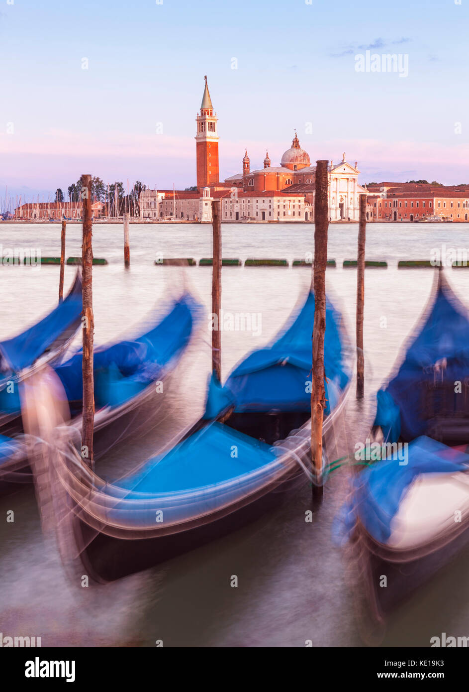 Italy venice italy moored gondolas on the Grand Canal Venice opposite the Island of San Giorgio Maggiore Venice - Stock Image