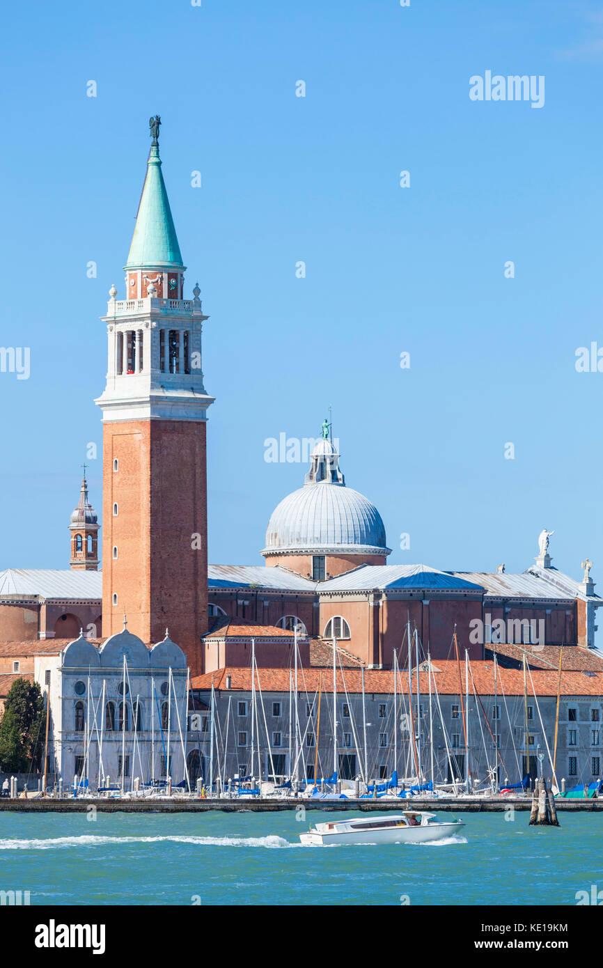 VENICE ITALY VENICE Yachts moored in the marina of San Giorgio Maggiore Island of San Giorgio Maggiore Venice lagoon - Stock Image