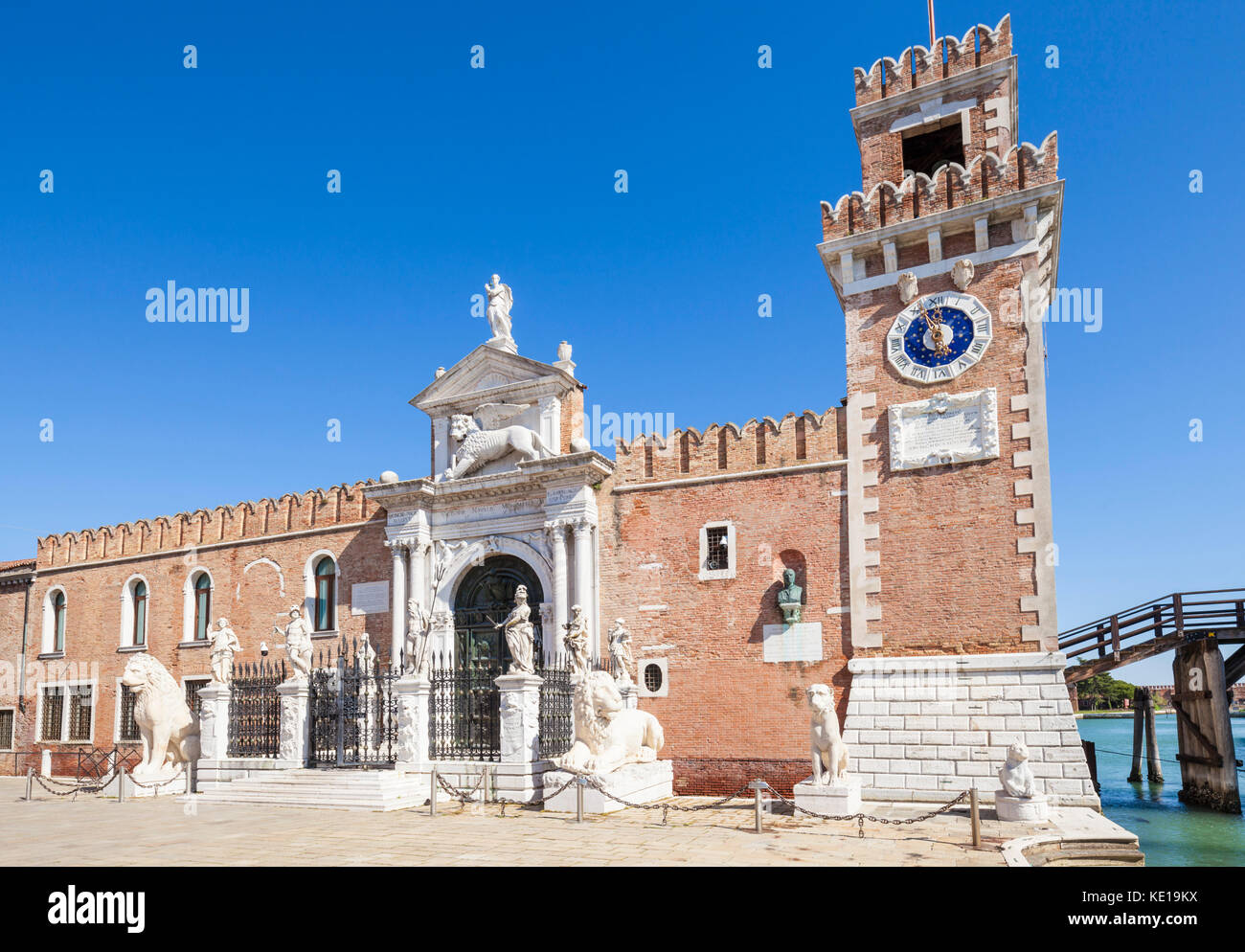 italy Venice italy Venetian Arsenal Arsenale di Venezia Ponte del Purgatorio and The Porta Magna at the Venetian - Stock Image