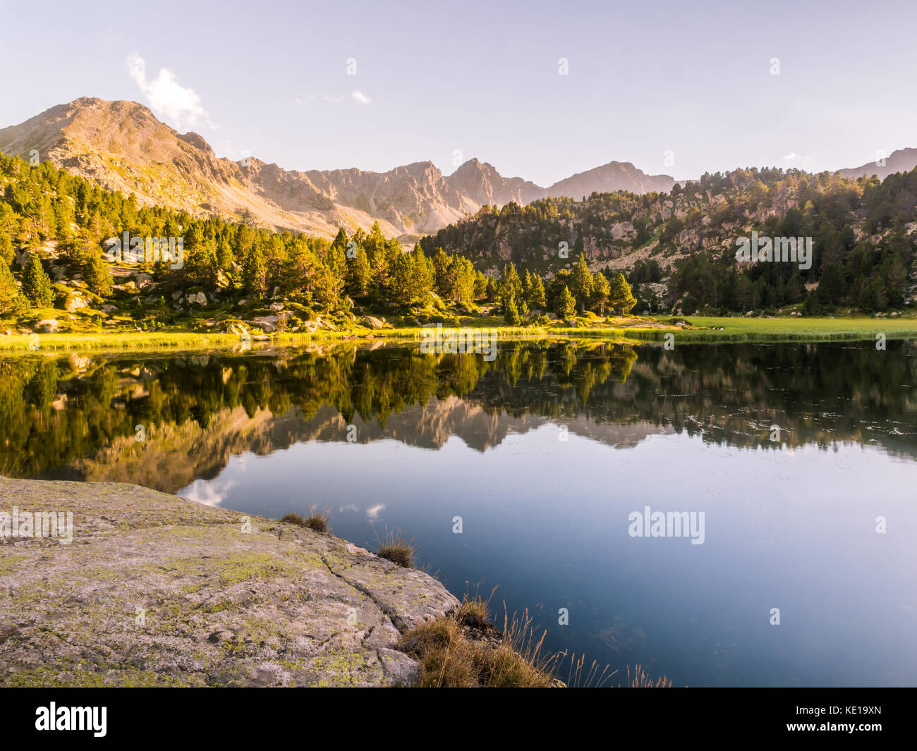 Estany Primer lake in Andorra, Pyrenees Mountains. - Stock Image