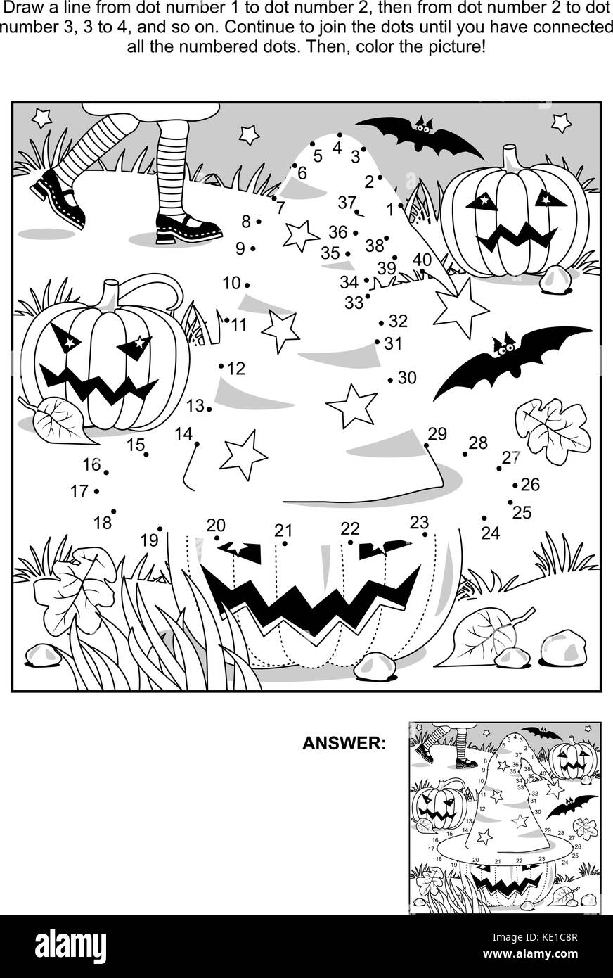 Connect The Dots Picture Puzzle And Coloring Page