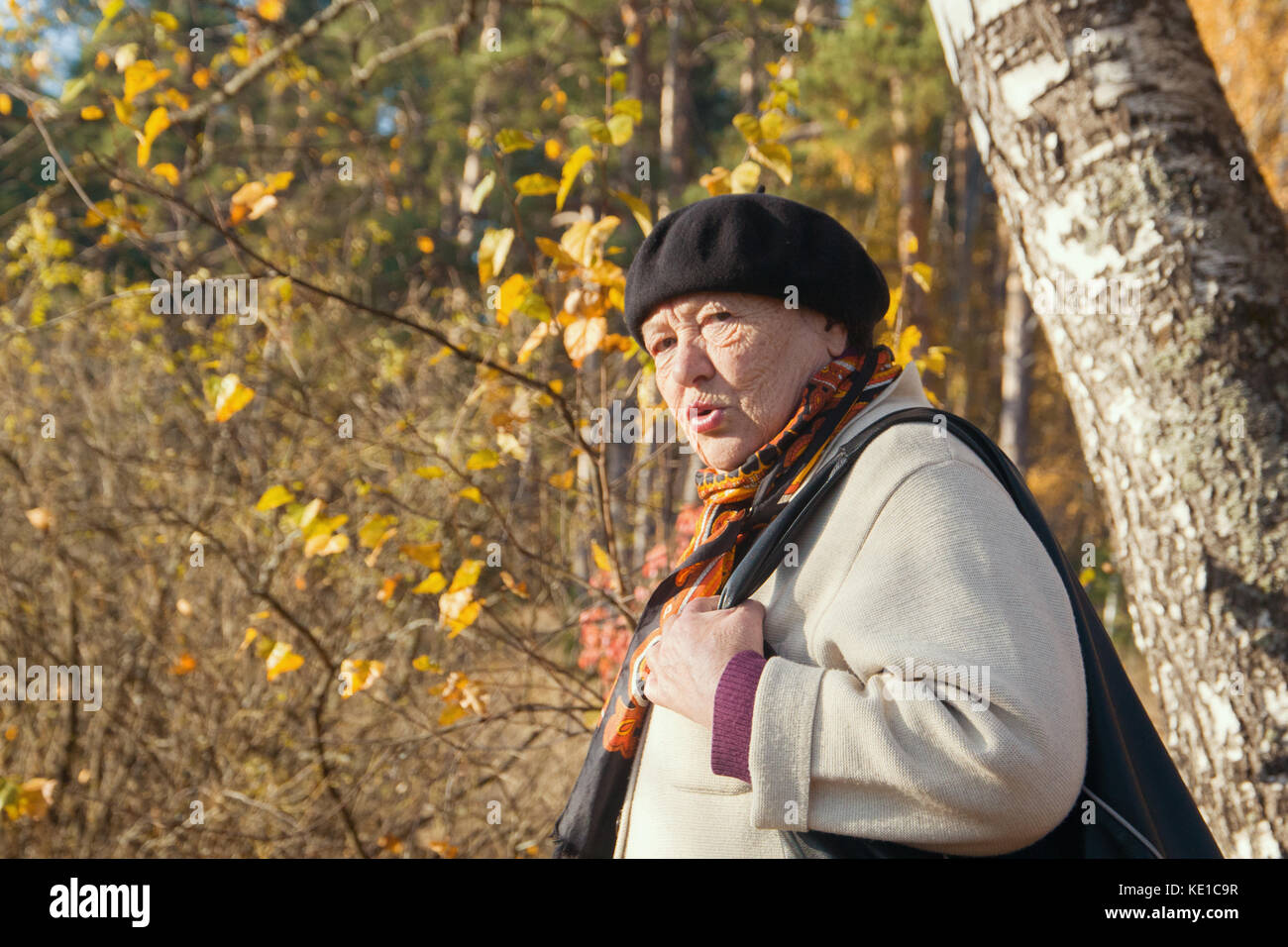 Angry old woman feels disgust in autumn park - Stock Image