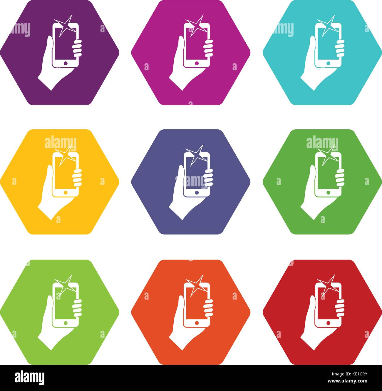 Hand photographed on mobile phone icon set color hexahedron - Stock Vector