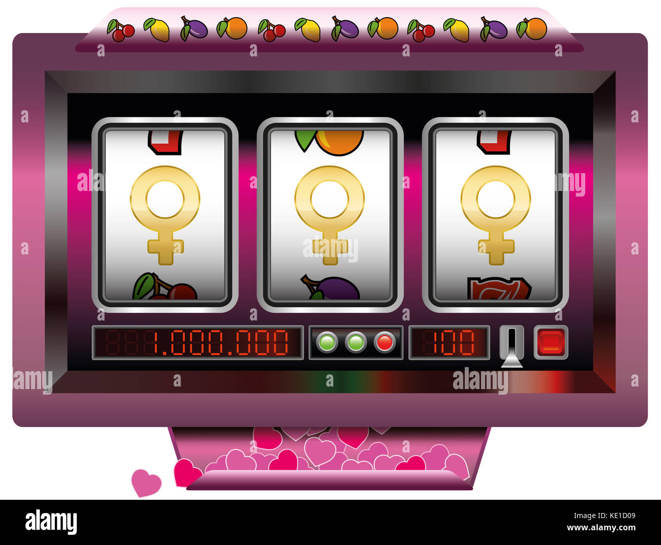 Dream girl win with slot machine - symbol for having good fortune to find the dream women - slot machine jackpot - Stock Image