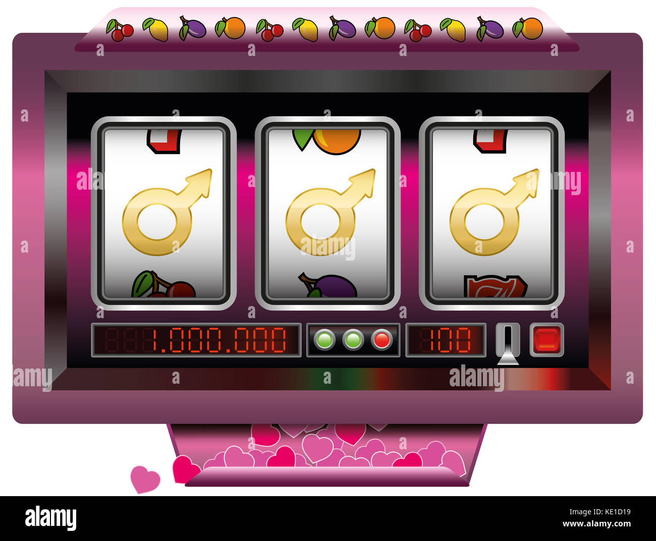 Dream lover win with slot machine - symbol for having good fortune to find the ideal man - slot machine jackpot - Stock Image