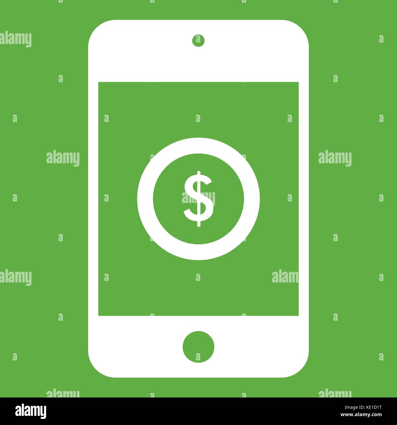 Smartphone with dollar sign on display icon green - Stock Vector