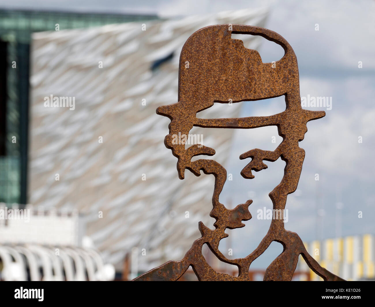 Statue Of Charlie Chaplin in Belfast's Titanic Quarter 2 - Stock Image