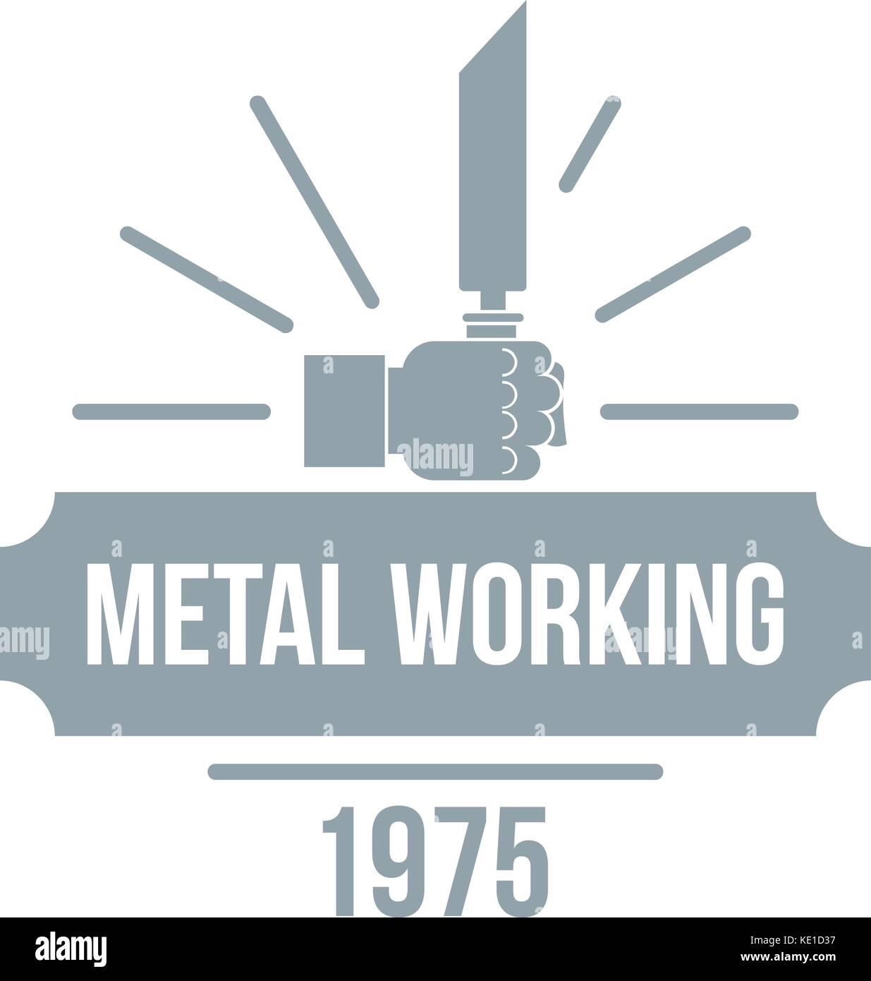 Metal working logo, vintage style Stock Vector