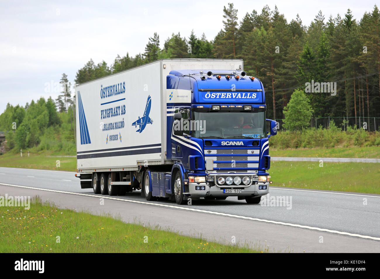 SALO, FINLAND - MAY 29, 2016: Blue and white Scania 164 v8 semi truck trucking along freeway in South of Finland. - Stock Image
