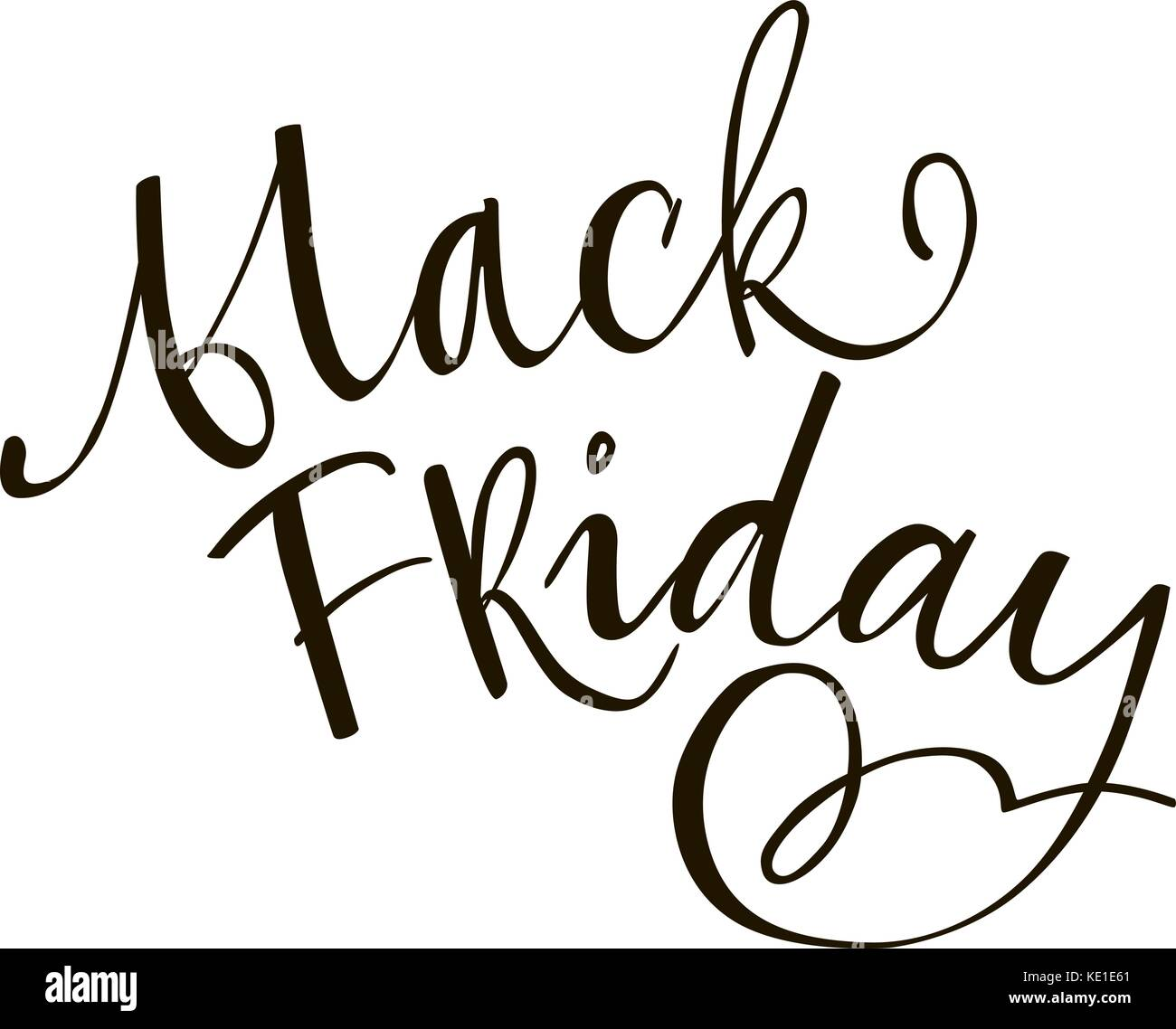 Black friday lettering phrase. Black and white hand lettering inscription to black friday and cyber monday deals - Stock Vector