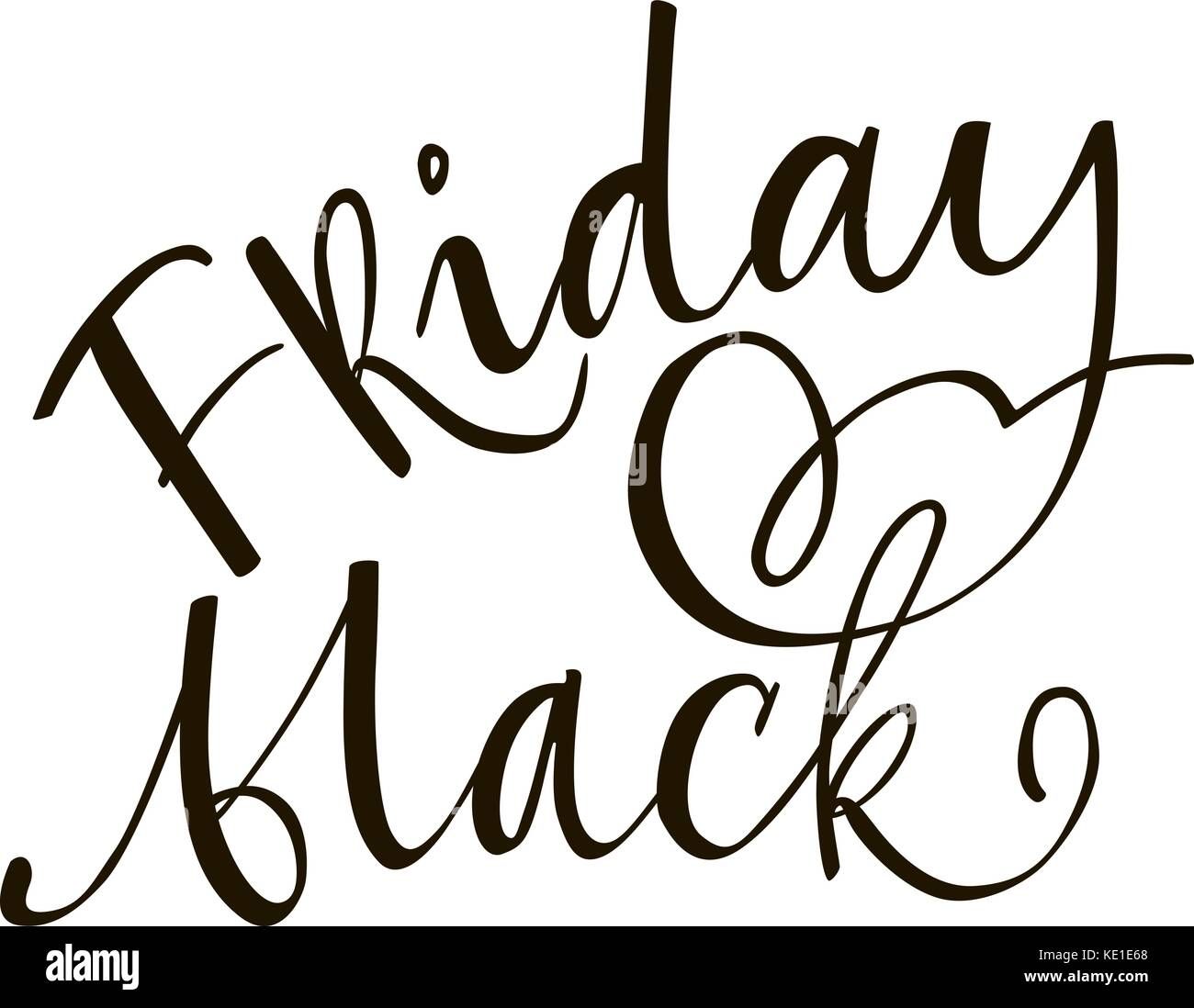 Friday black lettering phrase. Black and white hand lettering inscription to black friday and cyber monday deals - Stock Vector