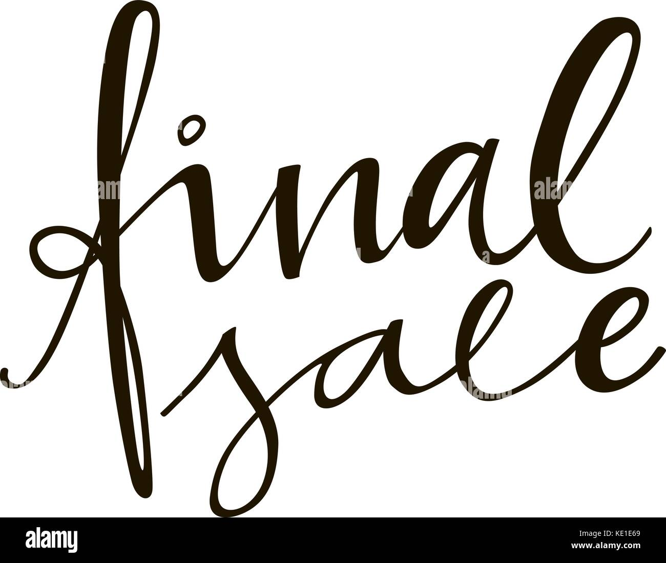 Final sale lettering phrase. Black and white hand lettering inscription to black friday and cyber monday deals design, - Stock Vector