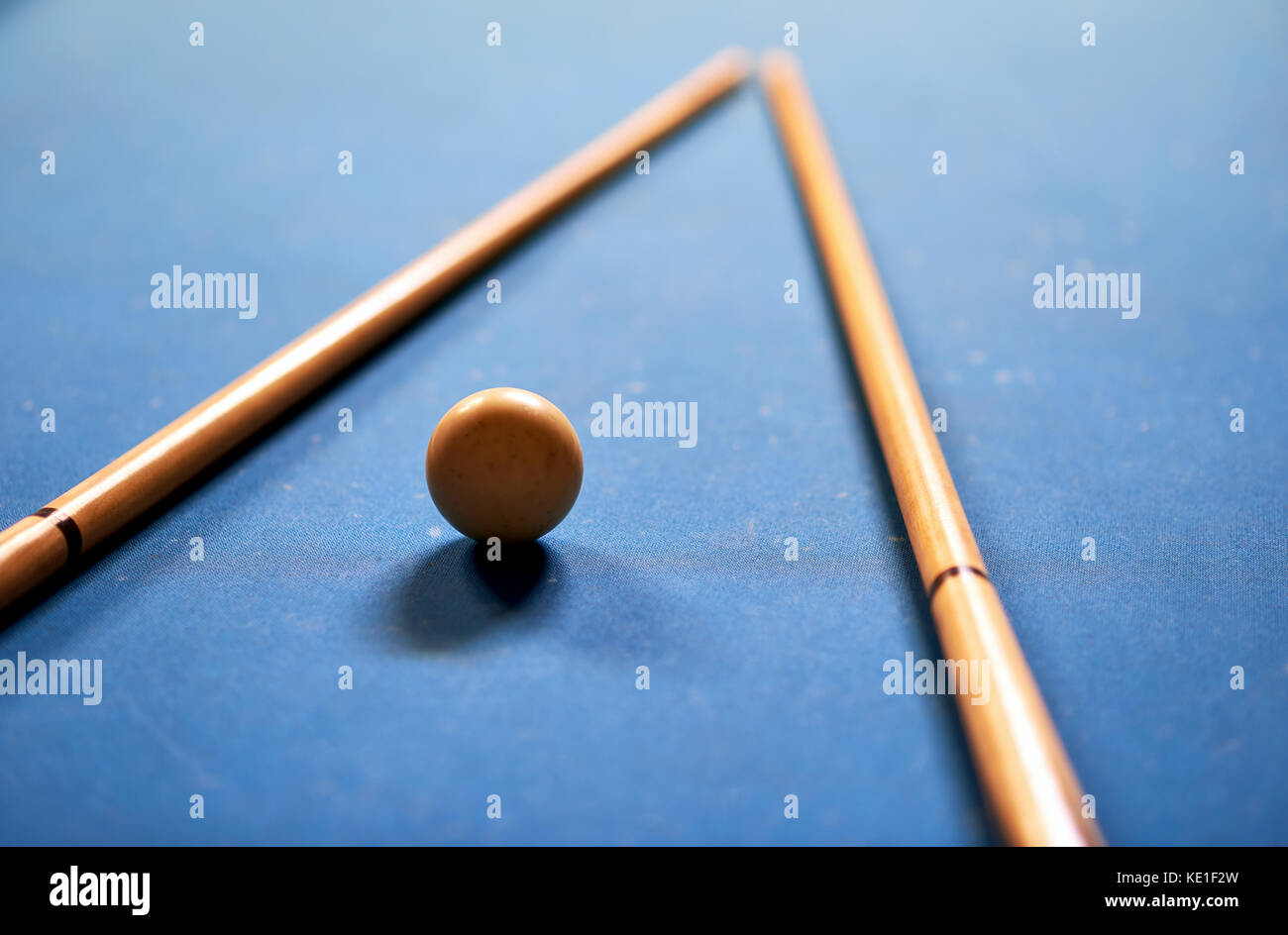 Billiard ball in a blue pool table - Stock Image