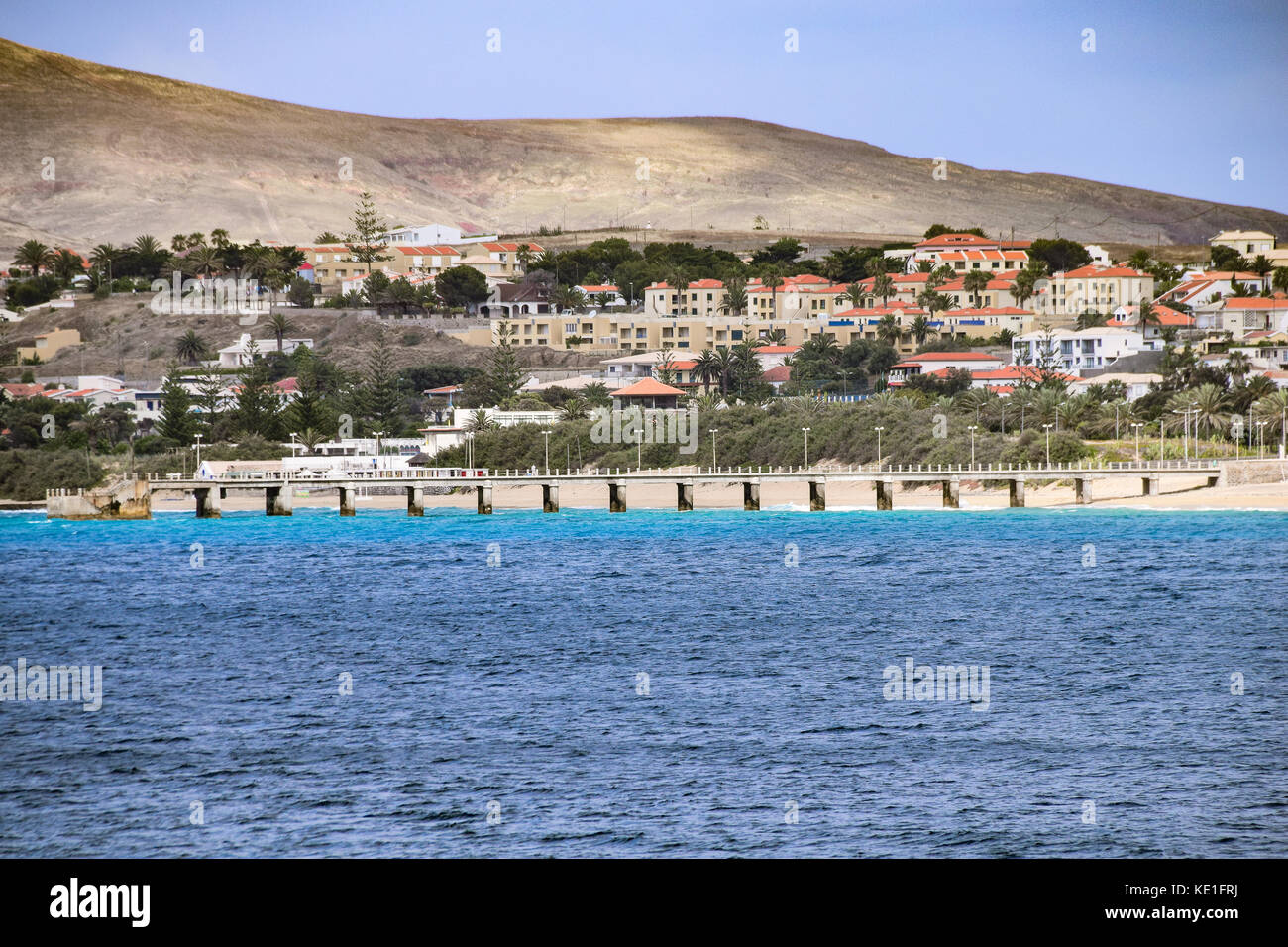 Vila Baleira and the pier, Porto Santo, Portugal - Stock Image